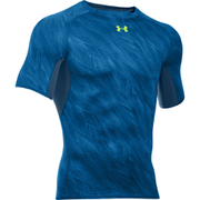 Under Armour Men's HeatGear Armour Printed Short Sleeve Compression Shirt - Blue/Yellow