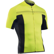 Northwave Evolution Full Zip Short Sleeve Jersey - Black/Yellow Fluo