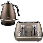 De'Longhi Distinta 4 Slice Toaster and Kettle Bundle - Bronze Finish