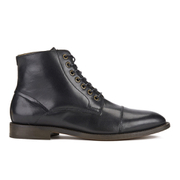 H Shoes by Hudson Men's Seymour Leather Toe Cap Lace Up Boots - Black