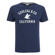 Soul Cal Men's Cracked Print T-Shirt - Navy