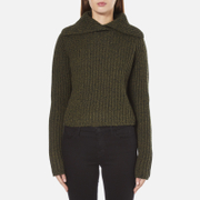 Carven Women's Fold Over Collar Cropped Jumper - Khaki