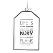 Parlane 'Life Is What Happens' Glass Hanging Sign - Clear (15 x 10cm)