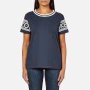 KENZO Women's Strip Logo Sleeve T-Shirt - Midnight Blue