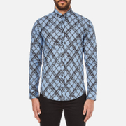 MSGM Men's Multi Logo Print Long Sleeve Shirt - Blue