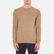 GANT Men's Donegal Crew Neck Knitted Jumper - Dark Sand Melange