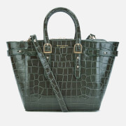 Aspinal of London Women's Marylebone Medium Croc Tote Bag - Forest Green Croc