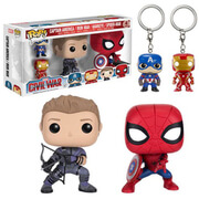 Lot de 4 Figurines et Porte-clés Pop! -Captain America