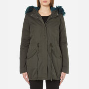 ONLY Women's Contrast Fur Parka - Peat