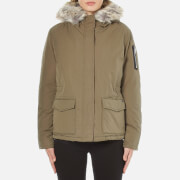 Maison Scotch Women's Hooded Short Down Jacket with Removable Fur Trim - Green