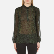 MICHAEL MICHAEL KORS Women's Spotted Cheetah Blouse - Moss