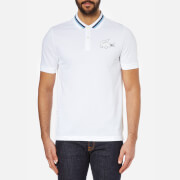 Lacoste L!ve Men's Large Logo Short Sleeve Polo Shirt - White/Catamaran/Jazz