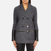 Karl Lagerfeld Women's Melange Boiled Wool Peacoat - Grey Melange