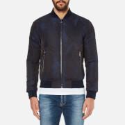 Versace Collection Men's Patterned Zipped Blouson Jacket - Blu-Nero