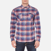 Superdry Men's Milled Flannel Long Sleeve Shirt - Marvel Blue Check