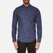 Calvin Klein Men's Wavy Button Down Indigo Shirt - Dark Indigo