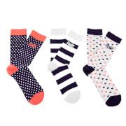 Superdry Women's Heart Triple Pack Socks - Grey/Navy/White