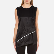DKNY Women's Sleeveless Layered Shirt with Asymmetrical Hem and Raw Edge Detail - Black/Chalk
