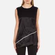DKNY Women's Sleeveless Layered Shirt with Asymmetrical Hem and Raw Edge Detail - Black/Chalk
