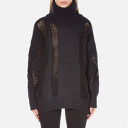 DKNY Women's Long Sleeve Oversized Turtleneck Thick/Thin Intarsia Jumper - Black