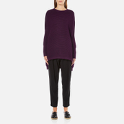 Paisie Women's Ribbed Jumper with Side Splits - Plum