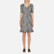 Boutique Moschino Women's Tweed Print Short Sleeve Peplum Dress - Black