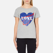 Love Moschino Women's Love Heart T-Shirt - Medium Grey