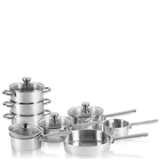 Swan Pan Set with Pouring Spouts - Stainless Steel