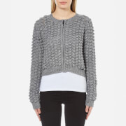 Superdry Women's Bobble Stitch Zip Up Bomber Jacket - Grey