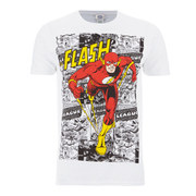 DC Comics Herren The Flash Comic Strip T-Shirt - Weiß