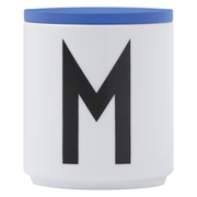 Design Letters Wooden Lid For Porcelain Cup - Blue