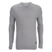 Brave Soul Men's Warren Roll Edge Jumper - Silver Grey