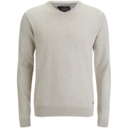 Threadbare Men's Bleak Cotton V-Neck Jumper - Oatmeal Marl