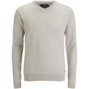 Threadbare Men's Bleak Cotton V-Neck Jumper - Oatmeal Marl