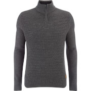 Threadbare Men's Redford Textured Quarter Zip Funnel Neck Knitted Jumper - Charcoal