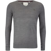 Soul Star Men's Alpha V Neck Jumper - Grey Melange