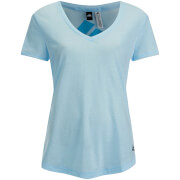 adidas Women's Logo Training V Neck T-Shirt - Blue