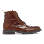 Bottines Mocassins en Cuir Hugh Jack & Jones -Cognac