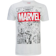 Marvel Herren Mono Comic T-Shirt - Weiß