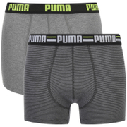 Puma Men's 2-Pack Striped Boxers - Charcoal/Light Grey