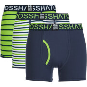 Crosshatch Herren 3 Pack All Sync Striped Boxers - Mood Indigo/Jasmine Green