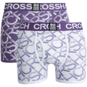 Crosshatch Men's Equalizer 2-Pack Boxers - Purple/white