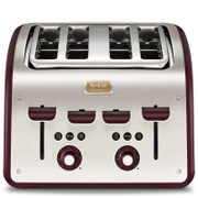 Tefal Maison TT7705UK Stainless Steel 4 Slice Toaster - Pomegranate Red
