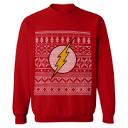 DC Comics Men's The Flash Fairisle Weihnachts-Sweatshirt - Rot