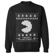 Namco Men's Merry Pac-Man Weihnachts-Sweatshirt – Schwarz