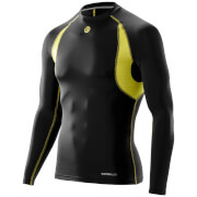 Skins Carbonyte Men's Thermal Long Sleeve Round Neck Baselayer - Black/Yellow