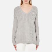 Polo Ralph Lauren Women's V Neck Side Slit Jumper - Oxford Grey