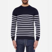 GANT Men's Breton Stripe Crew Neck Knitted Jumper - Eggshell