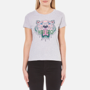 KENZO Women's Printed Tiger On Cotton Single Jersey T-Shirt - Light Grey