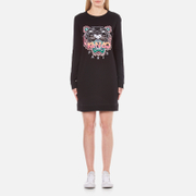 KENZO Women's Embroidered Tiger On Light Cotton Molleton Sweatshirt Dress - Black